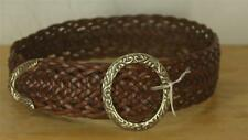 Brighton  Size Small S Brown Braided Leather Belt Metal Scroll Silver Buckle