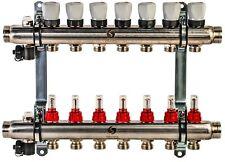 Edelstahl Heizkreisverteiler Fußbodenheizung 7 Heizkreise mit Durchflussmesser
