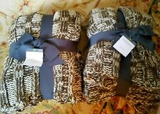 Threshold Sweater Knit Blanket ~ Brown Cream Tweed 50 x 60 Lot of 2 Brand New