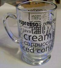 Luminarc Coffee Words in Black on Clear Bolero Mug  16 oz.(118002)