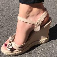 WEDGE Heel WOMENS SANDALS Shoes Sizes 3-8 UK New Ladies BLACK & NUDE ROSE