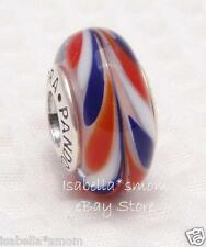 ALL AMERICAN Authentic PANDORA Silver RED~WHITE~BLUE Murano Glass Charm-Bead NEW