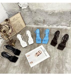 Womens Gladiator Sandal Ladies Square Open Toe Ankle Buckle Strap Stiletto Heels