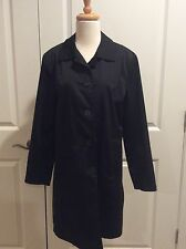 Weatherproof Garment Company Button Front Ladies Black Rain/Top Coat Size Medium
