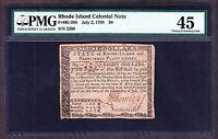 US $8 Rhode Island Colonial Currency 07/02/1780 FR RI288 PMG 45 XF (-298)