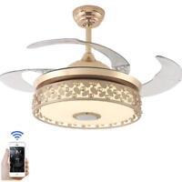 "42"" Modern Bluetooth Ceiling Fan Lamp Chandelier Fixture w/ Music Player Remote"
