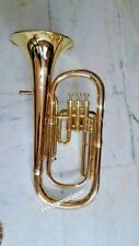 BARITONE HORN OF PURE BRASS IN GOLD POLISH + FREE CASE & MOUTHPC +FREE SHIPPING