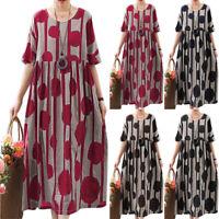 Womens Summer Short Sleeve Baggy Cotton Linen Kaftan Long Shift Dress Plus Size