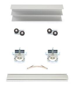 Schiebetürbausatz inkl. Rollen für 2/3 Türen, Boden- und Deckenschiene in 2/3 M