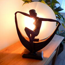 Art Deco Dancer Table Lamp with Glass Disc Shade - Bronze Style Figurine Lamp
