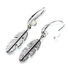 Boucles d'oreilles plaqué argent plumes bijou  earring A2