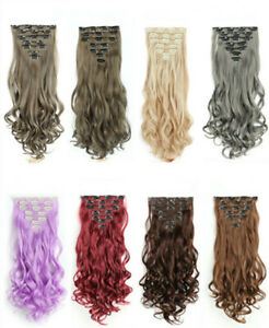 Curly Clip in Hair Extension Full Head Hairpiece in 7Pcs 16Clip Like Real Hair