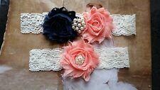 Wedding Garter, Navy/Peach Flower,Ivory Lace,Keepsake & Toss Garter
