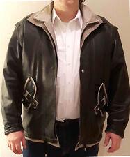 Mens LEATHER JACKET black XX-large chest warm genuine Spanish made authentic