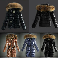 Women Quilted Winter Warm Coat Puffer Fur Collar Hooded Belted Jacket Parka Tops