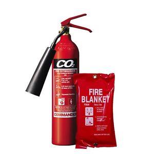 NEW 2 KG CO2 (CARBON DIOXIDE) FIRE EXTINGUISHER + FIRE BLANKET