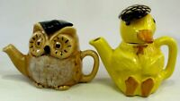 Duck and Owl Made in Devon Collectable Tea Pot Display Teapots