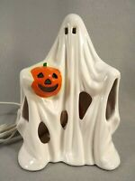 Ghost Light Halloween Pacific Rim Ceramic Figure Holding Jack O Lantern 9 inches