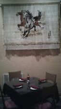Hand knotted chinese silk rug w horses