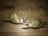 Vintage Lot 2 Gold tone metal and danish teak wood Swans Wall Art Home Interior