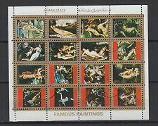 tableaux de nues   Ajman State  une feuille 16 petits timbres oblitérés/ T1459