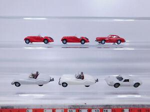 CP261-0, 5 #6x wiking H0 / 1:87 Car: Porsche+Jaguar+MB 300 Sl + BMW 328, VG