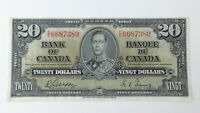 1937 Canada Twenty 20 Dollar EE Prefix Circulated Treated Banknote G200