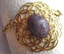 bracelet ancien bijou vintage couleur or cabochon pierre violette marbrée 2842