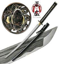 Katana Samurai Sword Japanese Battle Ready Folded Steel Real Swords Damascus
