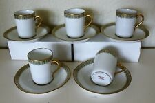 5 Theodore Haviland Limoges France Gold Green Filigree Tall Demitasse Cup Saucer