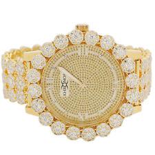 Mens Real Diamond Yellow Tone Khronos Watch Iced Flower Bezel Band Custom Watch