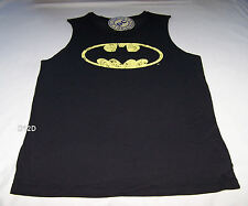 Batman Classic Logo Mens Black Printed Sleeveless Muscle Top Size XXXS New
