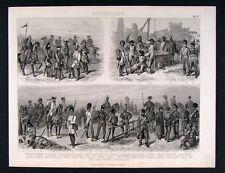 1874 Print French Austrian Soldier Officer Various Eras