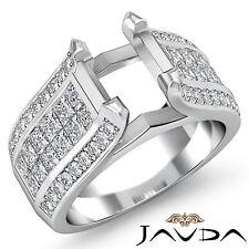 Pave Invisible Set Diamond Wedding Round Semi Mount Ring 18k White Gold 1.7Ct