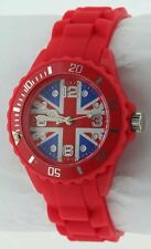 Ladies/ Girls/ Youth / Teen / Fashion Union Jack Watch Red Silicone/Rubber12D