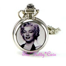 Miniature Silver Marilyn Monroe Pocket Half Hunter Steampunk Necklace Fob Watch