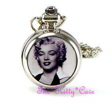 Miniatur Silber Marilyn Monroe Tasche Halb Jäger Steampunk Halskette Taschenuhr