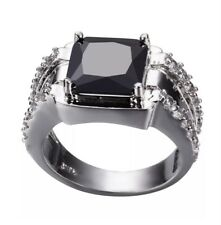 Black Zircon Women 10KT White Gold Filled Jewellery Size 8