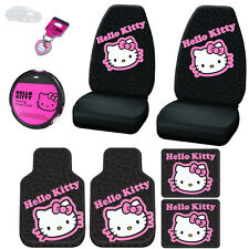 8PC HELLO KITTY CAR SEAT STEERING COVERS F&R MATS AND KEY CHAIN SET FOR NISSAN