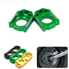 CNC Motorcycle Axle Block Chain Adjuster For KAWASAKI KX125/250 KX250/450F Green