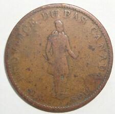 1837 UN SOU LOWER CANADA HALF PENNY TOKEN COIN