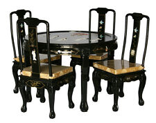 Black Lacquer Wooden Dining Room Set With Four Chairs Model 8309-XS BK