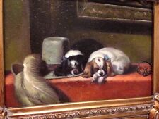 Country French Framed Oil Painting-King Charles Spaniels