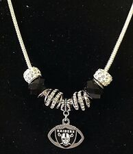 Las Vegas Raiders Necklace Jewelry NFL Football Charm Euro Beads Team  US Seller