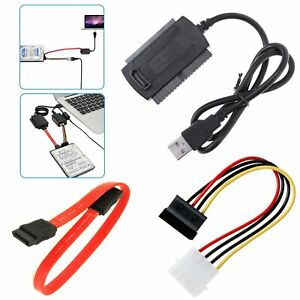 USB 2.0 to SATA/PATA/IDE Cable Power Cord Adapter For DVD Hard Disk Drive UK New