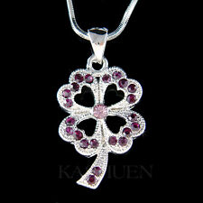 w Swarovski Crystal Purple 4 Leaf Clover Shamrock Irish St Patricks Necklace New