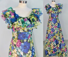 Vtg 60s Floral Gown Tall Extra Long Party Dress Prom Evening Blue Ruffles 70s