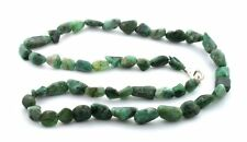 18 Inch Natural Tumble Polish Emerald Nugget Sterling Silver Clasp Gem Necklace