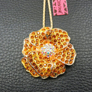 New Charm AB Gold Crystal Flower Betsey Johnson Woman's Pendant Chain Necklace
