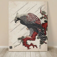"Beautiful Vintage Japanese Bird Art ~ CANVAS PRINT 36x24"" Eagle on Branch"